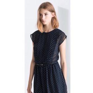 Zara dress polka dot blue sheer button down medium